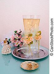 vasos de boda con vino