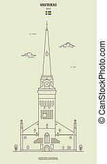 vasteras, señal, catedral, sweden., icono