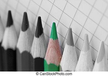 Ve verde, un solo lápiz de color en imagen Bw