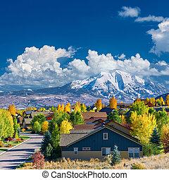 vecindad, otoño, colorado, residencial