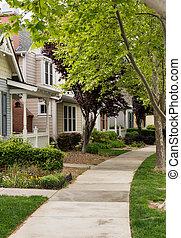 vecindario residencial, árbol, california, rayado, calle