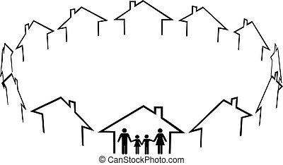 vecinos, familia , comunidad, casas, hogar, hallazgo
