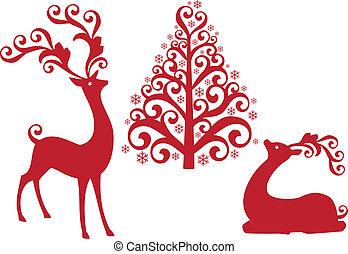 vecto, árbol, reno, navidad