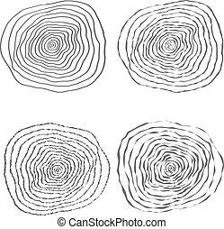 vector, árbol, ilustración, anillos