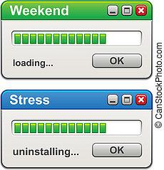 vector, énfasis, carga, uninstalling, windows, computadora, fin de semana