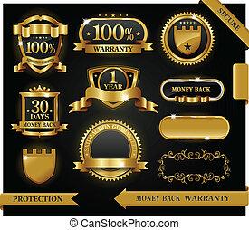 vector, 100%, guaranteed, etiqueta, satisfacción, protección, señal