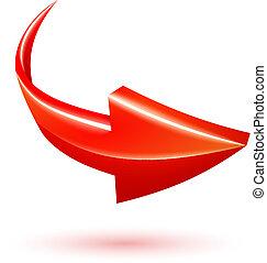 vector, 3d, flecha roja, curvo