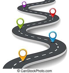 Vector 3d ilustración de la carretera con alfiler, puntero. El concepto de información de la calle. Anclas de asfalto informativas y coloridas