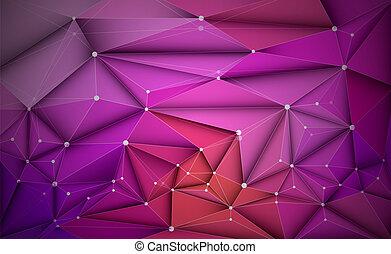 Vector 3D ilustración geométrica, polígono con estructura molecular
