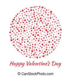 Vector abstracto, esfera elegante círculo con pequeños corazones rojos para el diseño de tarjetas de San Valentín. Tarjeta de invitación de boda. El emblema del logo para la salud, la medicina, el tratamiento.