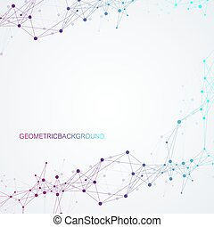 vector abstracto geométrico con línea conectada y puntos. Trasfondo de conexión global. Ilustración abstracta del sentido tecnológico.
