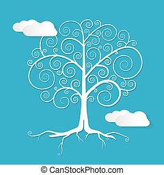 Vector abstracto ilustración de árboles blancos con nubes en el fondo azul