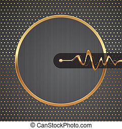 Vector abstracto ilustración de alta tecnología con marco redondo dorado, ondas equitatorias punteadas en un fondo de textura de metal