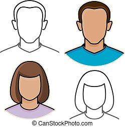 vector abstracto masculino y femenino iconos avatar