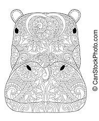 vector, adultos, hipopótamo, colorido, cabeza