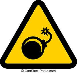vector, advertencia, bomba, señal