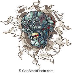 vector, afuera, robot, excelente, cráneo
