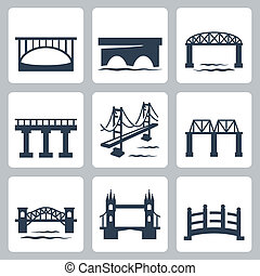 Vector aisló los iconos de los puentes