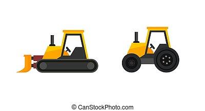 vector, aislado, conjunto, tractores, icono, blanco