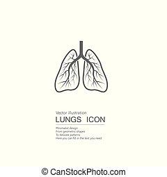 vector, aislado, lungs., dibujado, blanco, humano, fondo.
