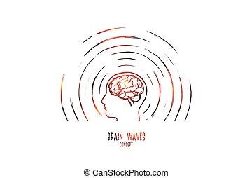 vector., aislado, ondas, cerebro, dibujado, mano, concept.