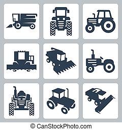 Vector aislado tractor y combina iconos cosechadores