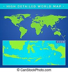 Vector alto mapa del mundo detallado
