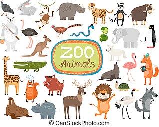vector, animales, zoo