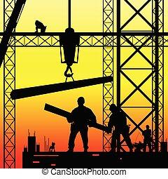 vector, anochecer, trabajo, trabajador, ilustración, construcción