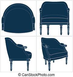 Vector antiguo del sillón 23.eps