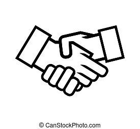vector, apretón de manos, empresa / negocio, icono, ilustración