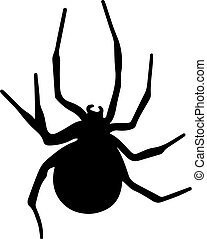 vector, araña, negro, silueta