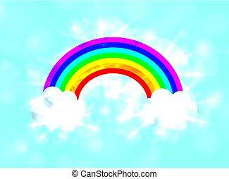 vector, arco irirs, brillar, cielo, encendido, illustration.