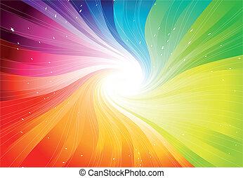 vector, arco irirs, starburst, coloreado