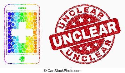 Vector arcoiris color píxelado icono de aplicación médica celular pixelated y angustia sello de sello sin sello claro
