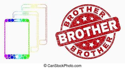 Vector arcoiris de colores píxel smartphones icono y angustia hermano sello