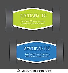 Vector arregló etiquetas para mensajes de publicidad