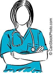 vector, arriba, ilustración, doctor, mujer, cierre