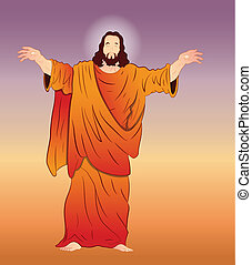 vector, arte, cristo, jesús