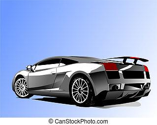 vector, automóvil, concept-car, exposición, ilustración