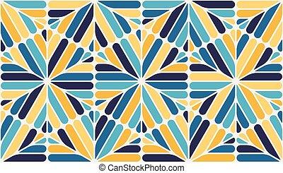 Vector azul, amarillo, blanco y redondo, patrón de cordones de hexágono