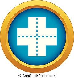 Vector azul de icono cruzado aislado