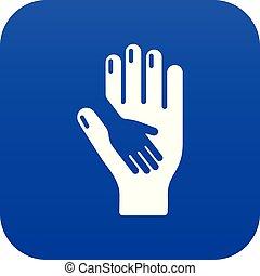 Vector azul de icono de mano