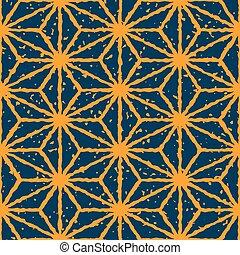 Vector azul marino sin costura mano de color azul marino dibujado líneas distorsionadas de estrellas forma grunge patrón retro