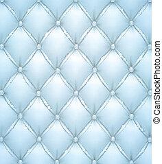 Vector azul tapizado de cuero.