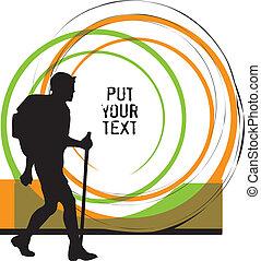 vector, backpacker., ilustración