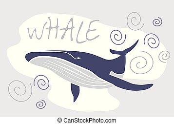 Vector ballena azul