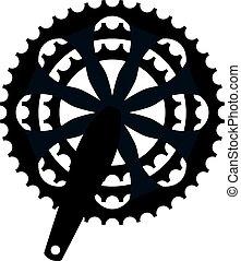 Vector bicicleta engranaje de manivela de manivela. Simbolo de cassete de bicicleta