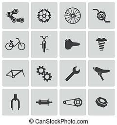 vector, bicicleta, iconos, parte, negro, conjunto