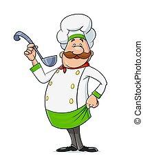 vector., bigote, character., cocinero, spoon., caricatura